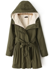 Green Army Coat w/ Comfy Hooded Collar by Rosewe