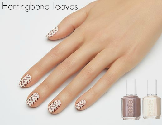 Nail Art - Herringbone Leaves