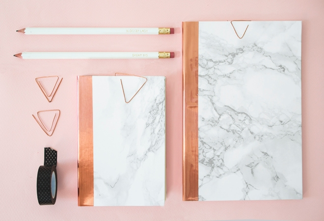 DIY-marble-and-copper-stationery finished